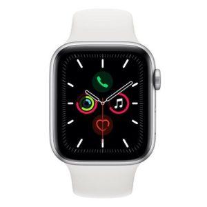 Apple Watch Series 5 GPS, 44 mm, Alumínio Prata, Pulseira Esportiva Branca e Fecho Clássico - MWVD2BZ/A-0